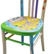 """""""case per sedia""""acrilici su legno con inserti a matita."""