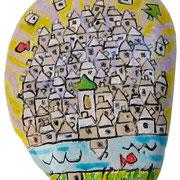 """""""Villaggio su sasso"""" acrilici e segni a matita cm9x6,5 (il Villaggio nasconde un particolare. Quale?)"""