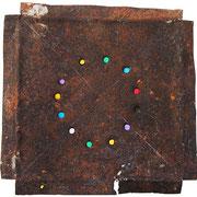 """""""la Ruota dei Colori"""" acrilici su ferro arrugginito cm17x17"""