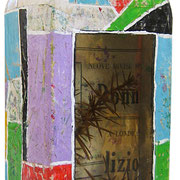 """""""grappa di cirmolo"""" (fronte) acrilici su collage di carta giornale su vetro cm23,5x8,5x4,5"""