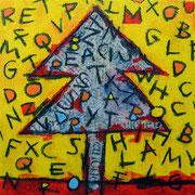 """""""l'Albero delle parole non da frutti ma lettere che cadendo, nessuno raccoglie"""" acrilico, carboncino su tela cm20x20"""