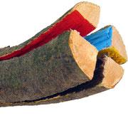 """""""Energia (dentro)""""acrilici su pezzo di legno di faggio appena tagliato 2cm5x25,5"""