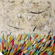 """""""Prato (Pensieri)"""" acrilici e segni a matita su tela ricoperta di stucco cm40x40 - ...Una parte che mi era dentro, uscì all'improvviso"""