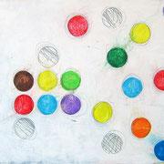 """""""Bolli Colorati"""" acrilici e segni a matita su cartone telato cm24,5x30"""