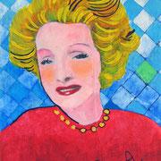 """""""Diva"""" acrilici e matite colorate su tela ricoperta di carta cm20x30 (esercizio)"""
