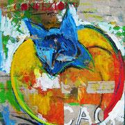 """""""Caco di cartone"""" colori acrilici, carboncino e gessi colorati su cartone d'imballo cm55,5x75,5"""