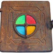"""""""la Quinta Stagione"""" (chiusa) acrilici su ferro di vecchio sportello di stufa cm22,5x25,5"""