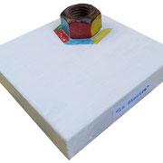 """""""la giostra"""" acrilici su vecchio bullone su base di legno cm9,5x9,5"""