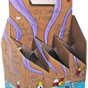 """""""porta lattine (di birra)"""" (b) acrilici e segni a matita su cartone cm19,5x13x29"""