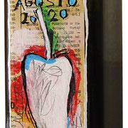 """""""esercizi per etichetta bottiglia olio piccante cl.75"""" acrilici e segni a matita su carta giornale cm5x14"""