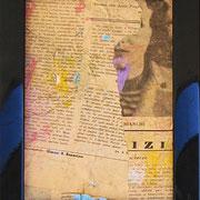 """""""ritagli di giornali sporchi di acrilici"""" cm16,5x21,5 (in vecchia cornicetta in legno) 1"""