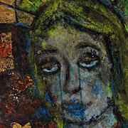 """""""la Madonnina 1"""" acrilico, gessi e foglia oro su carta d'imb. cm26,5x47"""