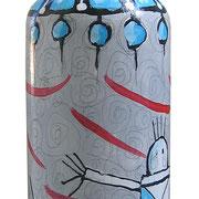 """""""la danza del Fiume"""" acrilici su bottiglia di vetro cl.50"""