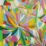 """""""I tre fiori"""" acrilici e segni a matita su pannello di carton legno cm26x40"""