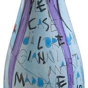 """""""bottiglia Simion"""" acrilici e tratti a matita su vetro"""