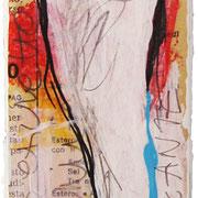 """""""esercizi per etichetta"""" acrilici e segni a matita su carta giornale cm5x14"""