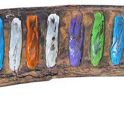 """""""colori su baccello africano""""acrilico e vernice cm27x5 (MutaCromoSomatizzazione)"""