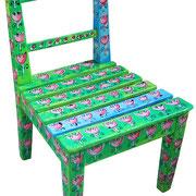 """""""bambina su sedia"""" acrilici su legno (h) cm48,5"""