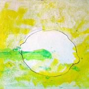 """""""limone (2)"""" acrilici e tratto a matita su tela cartonata  cm27,5x34,5"""