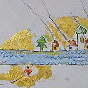 """""""Le Case di Letizia"""" acrilico su tela con inserti di foglia d'oro e gesso cm150x100"""