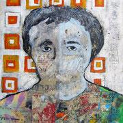 """""""La Donna di Mustair""""  colori acrilici ed inserti di giornale su carton legno cm24x30"""