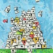 """""""Anniversario al Villaggio"""" acrilici e matite colorate su cartoncino cm9,5x14,5"""