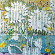 """""""Girasoli d'inverno (con neve)""""  colori acrilici, inserti di giornale e tratti a carboncino su cartone d'imballo cm24x24"""