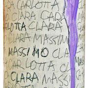 """""""bianco con successo""""acrilicie tratto a matita su bottiglia di vino da 75cl"""