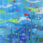 """""""Mare 2019"""" acrilici, acquarelli e matite colorate con graffi su carton legno  cm60x80"""