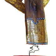"""""""Angioletto Benedetto"""" legno, acrilico e foglia oro su base lignea cm7,5x12xh23"""