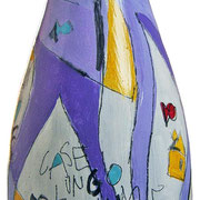 """""""bottiglia per un grazie"""" (a) acrilici e tratti a matita su bottiglia in vetro per spumante"""