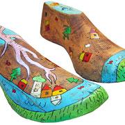 """""""vecchie forme per scarpe"""" acrilici e foglia oro su legno cm27x7"""
