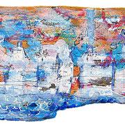 """""""l'Asse di Gioia"""" pasticcio con acrilici e carta su asse di legno raccolta in riva al mare (2003) cm27x79"""