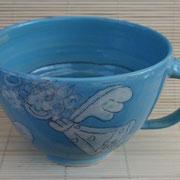 große Milchkaffeetasse Seraphina (türkis): Artikel-Nr. 1137/ 22,- €