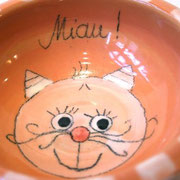 Katzenfutternapf orange 16,- €  Bestell - Nr. 3001
