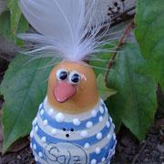 """Salzstreuer """"Vogel"""" blau gestreift/ Bestell-Nr. 2405/Preis 11,- €"""