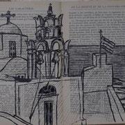 """Une église de pirgos, sur Santorin, croquis sur """"classique illustré Hachette"""""""