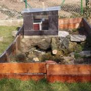 Mein Schildkrötengehege mit selbst gebautem Schutzhaus © Joshua Korella
