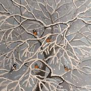 雪宿り   岩彩日本画