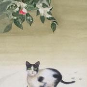 雪椿猫   着彩水墨画
