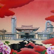 滲み「平等院鳳凰堂」:F30 (727×910)  (水彩・日本画材) 2012年