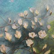 白木蓮   岩彩日本画