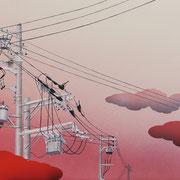 人口の森:(440×1088)  (水彩・日本画材) 2014年