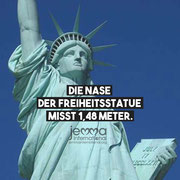 The nose of the Statue of Liberty measures 1,48 meters.
