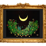 """ Moondawn "" Fine Art Print with Swarovski Crystals and Metalfoils. Gilded from Hand."