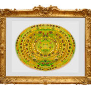 """"""" Green Galaxy """" Fine Art Print with Swarovski Crystals and Metalfoils. Gilded from Hand."""