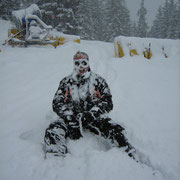 Too much snow for Sledging!  On rou down to Wengen, Switzerland.