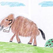 Mammut, Nathalie - Wachsmalstift, Buntstift und Bleistift auf Papier, 2018