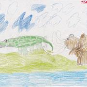 Mammut und Krokodil, Tim - Buntstift und Bleistift auf Papier, 2018