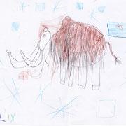 Mammut mit Mammutkind, Felix - Buntstift und Bleistift auf Papier, 2018